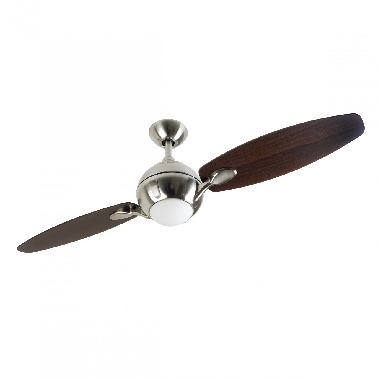 Fantasia Propeller 54 Inch Remote Control Brushed Nickel 2 Blade Ceiling Fan With Dark Oak Blades And Light